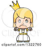 Clipart Of A Cartoon Mad Blond White Girl Princess Royalty Free Vector Illustration by Cory Thoman