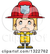 Clipart Of A Cartoon Mad Blond White Girl Firefighter Royalty Free Vector Illustration