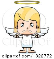 Clipart Of A Cartoon Mad Blond White Girl Angel Royalty Free Vector Illustration