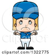 Clipart Of A Cartoon Mad Blond White Girl Baseball Player Royalty Free Vector Illustration