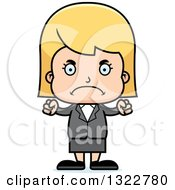Clipart Of A Cartoon Mad Blond White Business Girl Royalty Free Vector Illustration by Cory Thoman