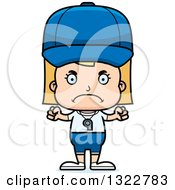Clipart Of A Cartoon Mad Blond White Girl Sports Coach Royalty Free Vector Illustration