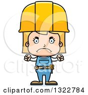 Cartoon Mad Blond White Girl Construction Worker