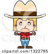 Clipart Of A Cartoon Mad Blond White Cowgirl Royalty Free Vector Illustration by Cory Thoman