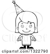 Lineart Clipart Of A Cartoon Black And White Happy Girl Wizard Royalty Free Outline Vector Illustration