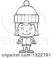 Lineart Clipart Of A Cartoon Black And White Happy Girl In Winter Clothes Royalty Free Outline Vector Illustration
