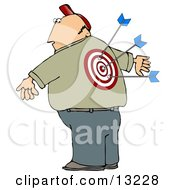 Man With A Bullseye And Arrows In His Back Clipart Illustration