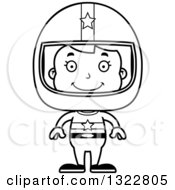 Lineart Clipart Of A Cartoon Black And White Happy Race Car Driver Girl Royalty Free Outline Vector Illustration