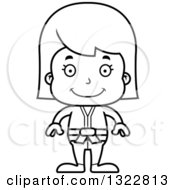 Lineart Clipart Of A Cartoon Black And White Happy Karate Girl Royalty Free Outline Vector Illustration
