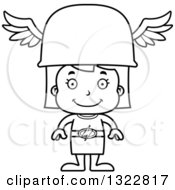 Lineart Clipart Of A Cartoon Black And White Happy Hermes Girl Royalty Free Outline Vector Illustration