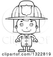 Lineart Clipart Of A Cartoon Black And White Happy Girl Firefighter Royalty Free Outline Vector Illustration