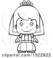 Lineart Clipart Of A Cartoon Black And White Happy Girl Bride Royalty Free Outline Vector Illustration
