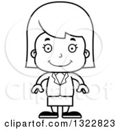 Lineart Clipart Of A Cartoon Black And White Happy Business Girl Royalty Free Outline Vector Illustration