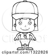 Lineart Clipart Of A Cartoon Black And White Happy Girl Sports Coach Royalty Free Outline Vector Illustration