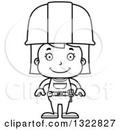 Cartoon Black And White Happy Girl Construction Worker