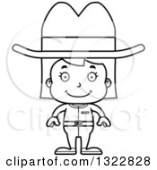 Lineart Clipart Of A Cartoon Black And White Happy Cowgirl Royalty Free Outline Vector Illustration
