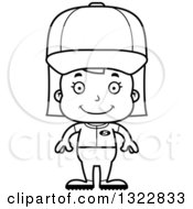 Lineart Clipart Of A Cartoon Black And White Happy Girl Baseball Player Royalty Free Outline Vector Illustration