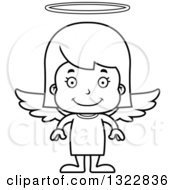 Lineart Clipart Of A Cartoon Black And White Happy Girl Angel Royalty Free Outline Vector Illustration