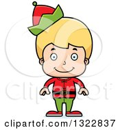 Clipart Of A Cartoon Happy Blond White Christmas Elf Boy Royalty Free Vector Illustration