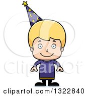 Clipart Of A Cartoon Happy Blond White Boy Wizard Royalty Free Vector Illustration