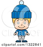Clipart Of A Cartoon Happy Blond White Boy In Winter Clothes Royalty Free Vector Illustration