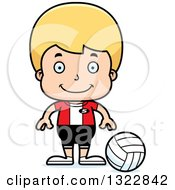 Clipart Of A Cartoon Happy Blond White Boy Volleyball Player Royalty Free Vector Illustration