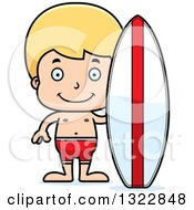 Clipart Of A Cartoon Happy Blond White Surfer Boy Royalty Free Vector Illustration