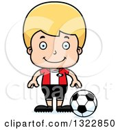 Clipart Of A Cartoon Happy Blond White Boy Soccer Player Royalty Free Vector Illustration