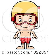 Clipart Of A Cartoon Happy Blond White Boy In Snorkel Gear Royalty Free Vector Illustration