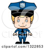 Clipart Of A Cartoon Happy Blond White Boy Police Officer Royalty Free Vector Illustration