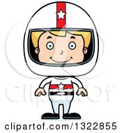 Clipart Of A Cartoon Happy Blond White Boy Race Car Driver Royalty Free Vector Illustration