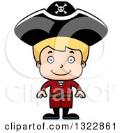 Clipart Of A Cartoon Happy Blond White Pirate Boy Royalty Free Vector Illustration