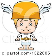 Clipart Of A Cartoon Happy Blond White Hermes Boy Boy Royalty Free Vector Illustration