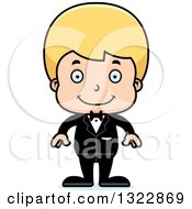 Clipart Of A Cartoon Happy Blond White Boy Groom Royalty Free Vector Illustration