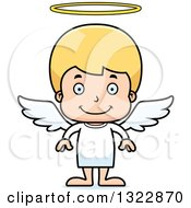 Clipart Of A Cartoon Happy Blond White Boy Angel Royalty Free Vector Illustration