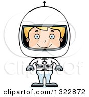 Clipart Of A Cartoon Happy Blond White Boy Astronaut Royalty Free Vector Illustration