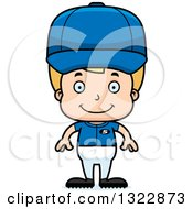 Clipart Of A Cartoon Happy Blond White Boy Baseball Player Royalty Free Vector Illustration