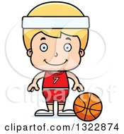 Clipart Of A Cartoon Happy Blond White Boy Basketball Player Royalty Free Vector Illustration