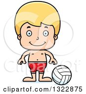 Clipart Of A Cartoon Happy Blond White Boy Beach Volleyball Player Royalty Free Vector Illustration