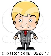 Clipart Of A Cartoon Happy Blond White Boy Businessman Royalty Free Vector Illustration