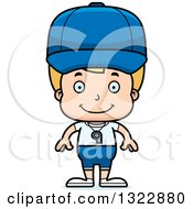 Clipart Of A Cartoon Happy Blond White Boy Sports Coach Royalty Free Vector Illustration