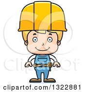 Cartoon Happy Blond White Boy Construction Worker