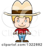 Clipart Of A Cartoon Happy Blond White Boy Cowboy Royalty Free Vector Illustration