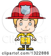 Clipart Of A Cartoon Happy Blond White Boy Firefighter Royalty Free Vector Illustration