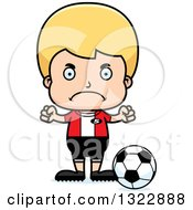 Clipart Of A Cartoon Mad Blond White Boy Soccer Player Royalty Free Vector Illustration