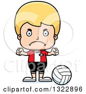 Clipart Of A Cartoon Mad Blond White Boy Volleyball Player Royalty Free Vector Illustration