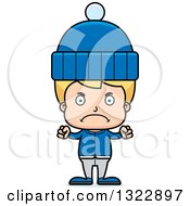Clipart Of A Cartoon Mad Blond White Boy In Winter Clothes Royalty Free Vector Illustration