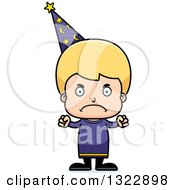 Clipart Of A Cartoon Mad Blond White Boy Wizard Royalty Free Vector Illustration
