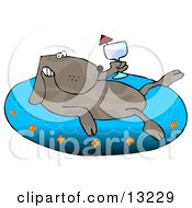 Happy Dog Drinking Wine And Soaking In An Inflatable Kiddie Pool Clipart Illustration