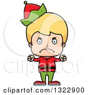 Clipart Of A Cartoon Mad Blond White Christmas Elf Boy Royalty Free Vector Illustration